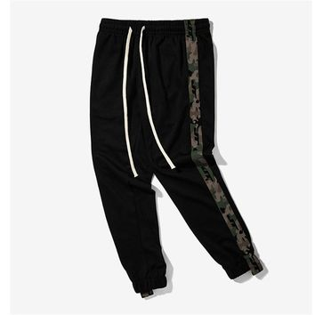 2017 New Mens Side Stripe Camouflage Track Pants Men Retro Elastic Waist Drawstring Sweatpants Black Track Sweatpants S-XXL