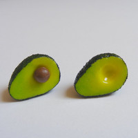 Avocado Miniature Food Earrings - Miniature Food Jewelry,Handmade Jewelry Earrings