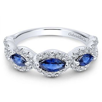 14K White Gold Vintage Marquise Shaped Halo Diamond and Sapphire Stackable Ring