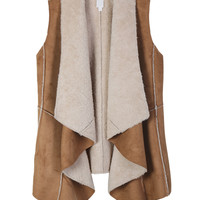LE3NO Womens Vintage Oversized Long Faux Fur Suede Vest