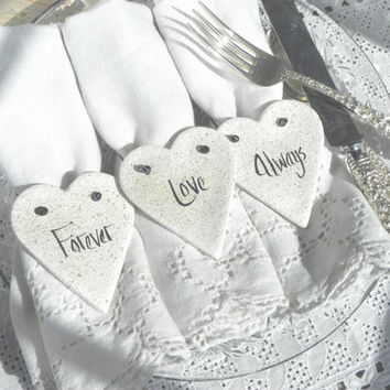 Bridal Shower or Wedding Napkin Rings Set of 12 Salt Dough Heart Ornaments