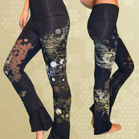 "Black  ""Hive Mind"" Yoga Pants"