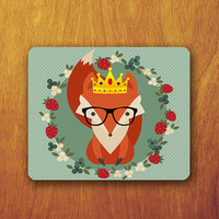 Funny Fox Cartoon Mouse Pad wear Black Glasses and yellow Crown Green Polkodot Pattern Office Desk Decoration Gift Teacher Gift