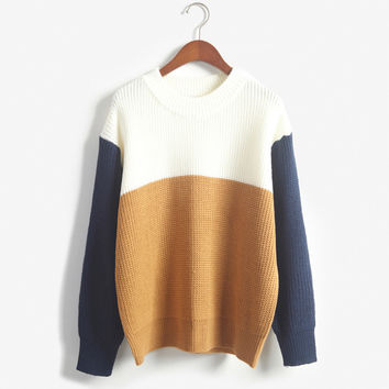 2015 Autumn Vintage Women Sweaters And Pullovers Female Preppy Style O-Neck Patchwork Color Block Pullover Knitted Sweater