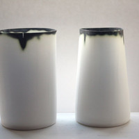Stoneware white vase in English fine bone china with burn looking finish rims