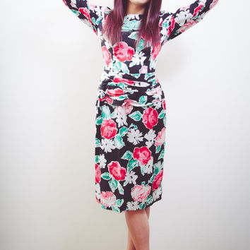 Silk Floral Cocktail Party Dress