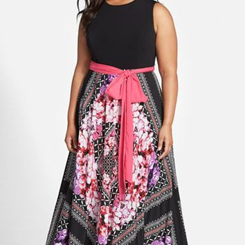 Plus Size Women's Eliza J Scarf Print Jersey & Crepe de Chine Maxi Dress,
