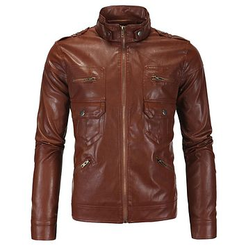 Men's Leather Jacket  High Quality Vintage Motorcycle Leather Jacket Overcoats