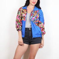 Vintage 80s Windbreaker Jacket Cobalt Blue Rainbow Paisley Floral Abstract Print 1980s Mod Bomber Jacket Track Warm Up Sporty Coat S Small M