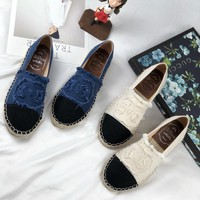 2018 new fisherman shoes female retro fashion straw rope thick bottom canvas flat shoes female.