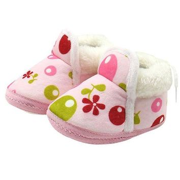 LMFMS9 winter baby shoes flower printing