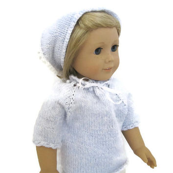 American Girl Doll Shirt Blue Knit White Ribbon