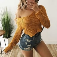 Dakota Knit Sweatshirt(Mustard)