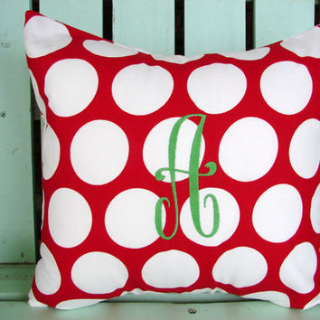 Sale red white polka dot large initial monogram-Christmas pillow cover-Decorative pillow cover-gifts under 30-throw pillow-accent pillow
