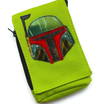 Boba Fett Appliqued Phone Case - Star Wars Phone Pouch - Available to custom order in ten different colourways.
