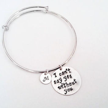 Personalized bridesmaid bracelet, bangle bracelet, silver, I can't say yes without you, custom initial bridesmaid proposal best friends gift