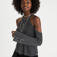 AEO Cold Shoulder Laced-Sleeve Sweater, Black