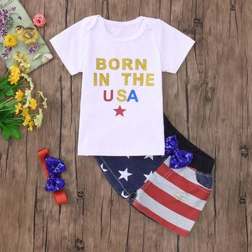 """Born in the USA"" 3PC Tshirt and Shorts Outfit + Headband"