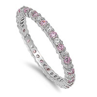 Rachel's Design Sterling Silver Pink CZ Rhodium Plated Slim Stackable Ring