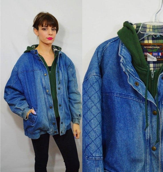 Hooded Denim Jacket 90s Heavy Coat Soft from Gothwave | Outerwear