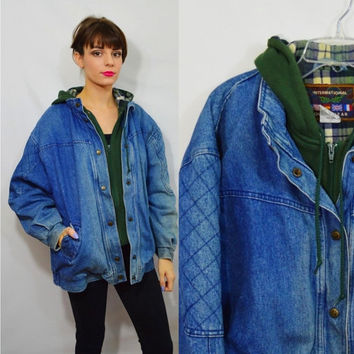 916fce68e95 Hooded Denim Jacket 90s Heavy Coat Soft Grunge Hipster Vintage Women s  Clothing Distressed Grungy 1990s Faded