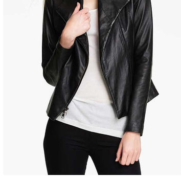Handmade women black leather jacket, women wide collar biker leather jacket, biker leather jackets, real leather jackets