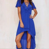 Nasty Gal Fiesta Forever Asymmetrical Dress - Blue