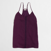 Factory lace-panel racerback cami : Sleeveless | J.Crew Factory