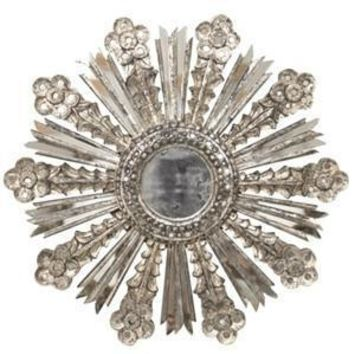 Bella Leaf Sunburst Mirror - Silver