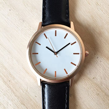 Graduation Gift, Mens Watch, Gift for Him, Groom Gift, Best Man, Bachelor Party, Father Gift, Wedding, Brother, Modern Minimalist, Black