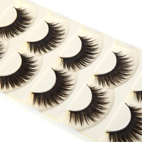 5 Pairs False Eyelashes Pure Hand-made Thick Long Voluminous Fake Lashes H10851 Cosmetic (Color: Black) = 1645900932