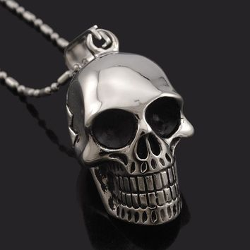 Biker Motorcycle Style Black Stainless Steel Skull Pendants Necklaces Charm Jewelry