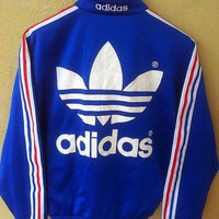 CLEARANCE SALE 90's Vintage Adidas Sweater Blue Zipper Sweatshirt Big Logo Hip Hop Fas