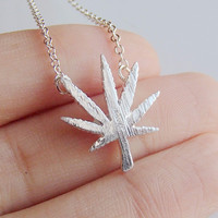 Dainty Weed Leaf Necklace Cannabis Leaf Inspired Pendant Necklace