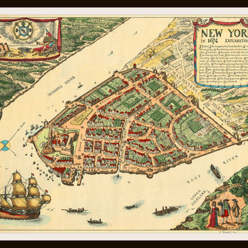 Printed Vintage New York City 1674  Poster Art Reproduction Unframed