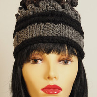 Hand knit hat - Chunky knit hat - Gray knit cloche - Grey & black beanie - OOAK hat