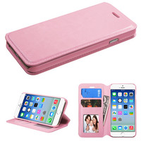 Book-Style Flip Stand Leather Wallet Case for iPhone 6 - Pink