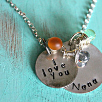 Hand Stamped Grandmother Jewelry, Nana Necklace, Mommy Necklace, Mom Jewelry, Grandma Necklace