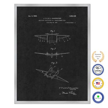 1933 Three Element Wing Airplane Antique Patent Artwork Silver Framed Canvas Home Office Decor Great for Pilot Gift