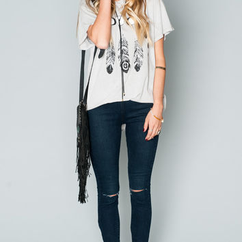 Show Me Your mumu Oliver Tee ~ Feather Eclipse Graphic