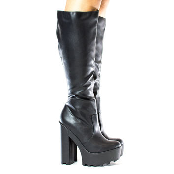 Floret Black Pu By Speed Limit 98, Round Toe Knee High Zip Up Lug Sole Platform Chunky High Heel Boots
