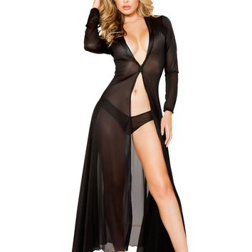 Long Sheer Robe with Hooks & Mesh Shorts