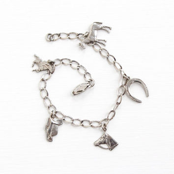 Vintage Sterling Silver Art Deco Horse Charm Bracelet - Equestrian Riding Figural Animal Jewelry with Horseshoe , Saddle , Jockey Pendants