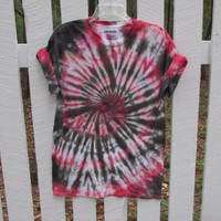 Black and Red Unisex Swirl Tie Dyed Tee Shirt