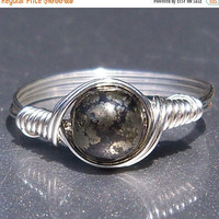 30% OFF Pyrite Argentium Sterling Silver Wire Wrapped Ring