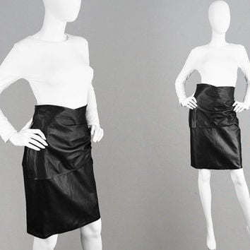 Vintage EMANUEL UNGARO Leather Pencil Skirt 80s Draped Skirt Buttery Soft Sheep Skin Leather Sheepskin Skirt Layered Skirt Soft Pleat Skirt