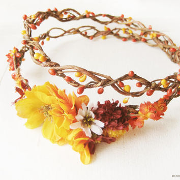 Rustic Floral Double Circlet, Fall Flower Crown, Autumn Halo, Bridal Woodland Headpiece, Orange Headband, Chrysanthemum Wreath, Yellow, Red