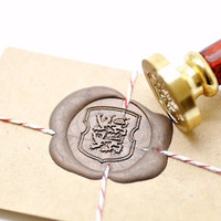 Heraldic Lion Passant with Elegant Shield Gold Plated Wax Seal Stamp x 1