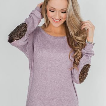 Good Times Sequin Elbow Patch Pullover - Lilac