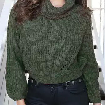 Army Green Cropped Knitted Sweater